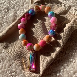 NWOT Multi Color Bracelet with Iridescent Charm